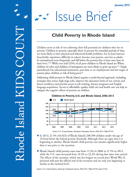 Child Poverty in RI Issue Brief cover