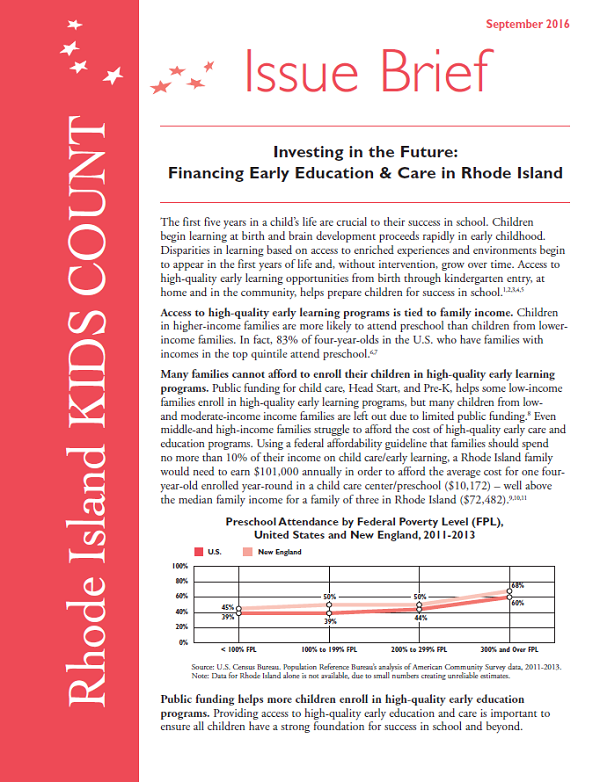 Investing in the Future: Financing Early Education & Care in Rhode Island,