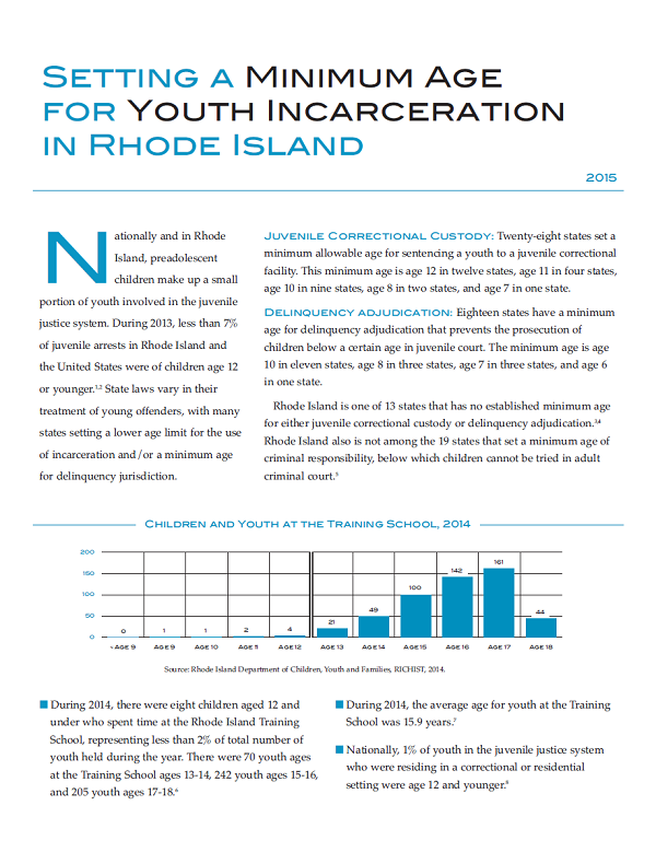 Setting a Minimum Age for Youth Incarceration in Rhode Island, 2015